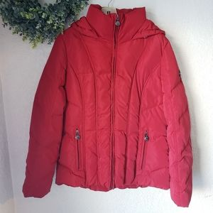 NWOT Red Calvin Klein Hooded Puffer Coat M